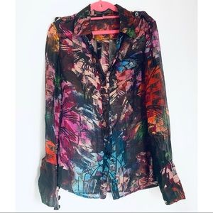 Anthropologie Hilton Hollis Abstract Floral Blouse